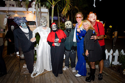 """photos by Dara Caudill www.IslandPhotography.org  Haley's Motel owners Sabine Musil-Buehler, and Tom Buehler hosted their 2nd annual """"Haleyween"""", featuring a Haunted Garden.  www.HaleysMotel.com  To entertain younger visitors, Joan Carter from J&J Graphics www.JNJGraphics.com  played the scary witch, and Olga Martinez played the investigative reporter.  The Anna Maria Island Privateers www.AMIPrivateers.org , along with many other volunteers, dressed as pirates & goblins to scare those old & brave enough to enter the Haunted Garden!"""