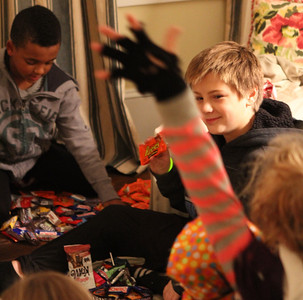 Using his charm to trade a reeces...