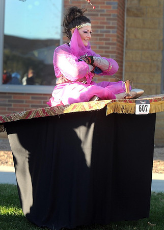 Pat Christman<br /> Lora Magers floats on her magic carpet before the start of the run Saturday.