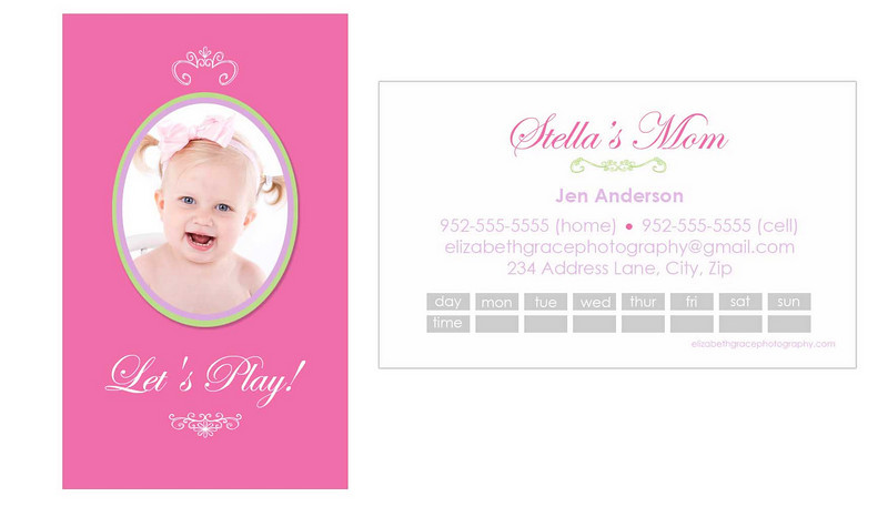 """princess"" mommy card<br /> <br /> Perfect for trendy moms and tots alike, mommy cards are a stylish way to share your contact information with the other moms at the park, at preschool, on your child's sports team...you name it! A must have for the play date crowd and oh-so-fun to hand out!<br /> <br /> Mommy cards are sized like a traditional business card, but there is nothing traditional about these designs! All text is customizable and most designs will accommodate between 1-4 pictures so you can choose to use a group shot or show off your kids individually if you'd like). Sold in sets of 100 (trust me, once you start handing these out, you'll see why you needed 100!).<br /> <br /> To order, simply email Jen with your template name, front/back text and picture choice(s).  One round of reviews is complimentary with your order; additional reviews are $15 each."