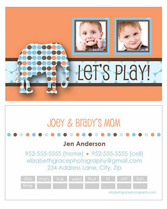 """elephant"" mommy card<br /> <br /> Perfect for trendy moms and tots alike, mommy cards are a stylish way to share your contact information with the other moms at the park, at preschool, on your child's sports team...you name it! A must have for the play date crowd and oh-so-fun to hand out!<br /> <br /> Mommy cards are sized like a traditional business card, but there is nothing traditional about these designs! All text is customizable and most designs will accommodate between 1-4 pictures so you can choose to use a group shot or show off your kids individually if you'd like). Sold in sets of 100 (trust me, once you start handing these out, you'll see why you needed 100!).<br /> <br /> To order, simply email Jen with your template name, front/back text and picture choice(s).  One round of reviews is complimentary with your order; additional reviews are $15 each."