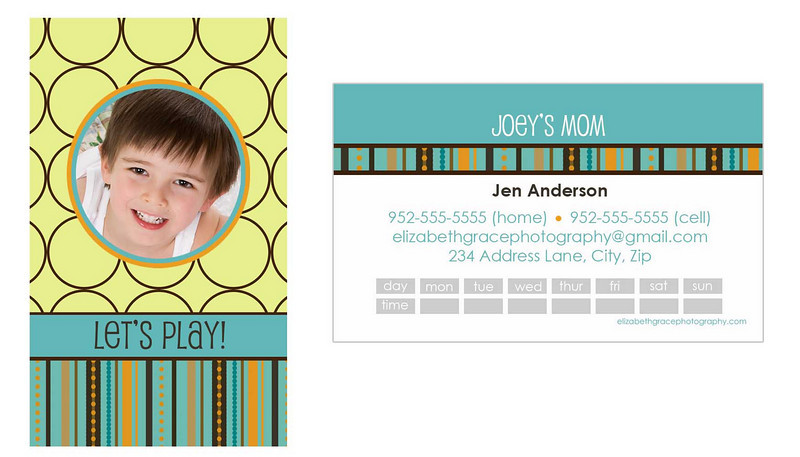 """mod"" mommy card<br /> <br /> Perfect for trendy moms and tots alike, mommy cards are a stylish way to share your contact information with the other moms at the park, at preschool, on your child's sports team...you name it! A must have for the play date crowd and oh-so-fun to hand out!<br /> <br /> Mommy cards are sized like a traditional business card, but there is nothing traditional about these designs! All text is customizable and most designs will accommodate between 1-4 pictures so you can choose to use a group shot or show off your kids individually if you'd like). Sold in sets of 100 (trust me, once you start handing these out, you'll see why you needed 100!).<br /> <br /> To order, simply email Jen with your template name, front/back text and picture choice(s).  One round of reviews is complimentary with your order; additional reviews are $15 each."