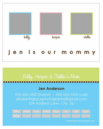 """""""fresh"""" mommy card<br /> <br /> Perfect for trendy moms and tots alike, mommy cards are a stylish way to share your contact information with the other moms at the park, at preschool, on your child's sports team...you name it! A must have for the play date crowd and oh-so-fun to hand out!<br /> <br /> Mommy cards are sized like a traditional business card, but there is nothing traditional about these designs! All text is customizable and most designs will accommodate between 1-4 pictures so you can choose to use a group shot or show off your kids individually if you'd like). Sold in sets of 100 (trust me, once you start handing these out, you'll see why you needed 100!).<br /> <br /> To order, simply email Jen with your template name, front/back text and picture choice(s).  One round of reviews is complimentary with your order; additional reviews are $15 each."""