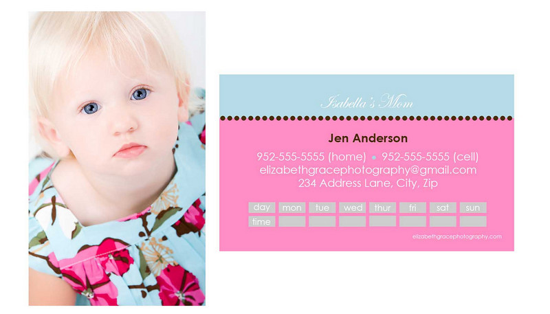 """""""smile"""" mommy card<br /> <br /> Perfect for trendy moms and tots alike, mommy cards are a stylish way to share your contact information with the other moms at the park, at preschool, on your child's sports team...you name it! A must have for the play date crowd and oh-so-fun to hand out!<br /> <br /> Mommy cards are sized like a traditional business card, but there is nothing traditional about these designs! All text is customizable and most designs will accommodate between 1-4 pictures so you can choose to use a group shot or show off your kids individually if you'd like). Sold in sets of 100 (trust me, once you start handing these out, you'll see why you needed 100!).<br /> <br /> To order, simply email Jen with your template name, front/back text and picture choice(s).  One round of reviews is complimentary with your order; additional reviews are $15 each.<br /> <br /> *** For the """"smile"""" mommy card, your chosen image will fill the entire front of the card and a color-customized back will be created to coordinate with your front image. ***"""