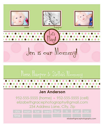 """bubble gum"" mommy card<br /> <br /> Perfect for trendy moms and tots alike, mommy cards are a stylish way to share your contact information with the other moms at the park, at preschool, on your child's sports team...you name it!  A must have for the play date crowd and oh-so-fun to hand out!<br /> <br /> Mommy cards are sized like a traditional business card, but there is nothing traditional about these designs!  All text is customizable and most designs will accommodate between 1-4 pictures so you can choose to use a group shot or show off your kids individually if you'd like).  Sold in sets of 100 (trust me, once you start handing these out, you'll see why you needed 100!).<br /> <br /> To order, simply email Jen with your template name, front/back text and picture choice(s).  One round of reviews is complimentary with your order; additional reviews are $15 each."