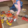 Hailey sorting her loot.