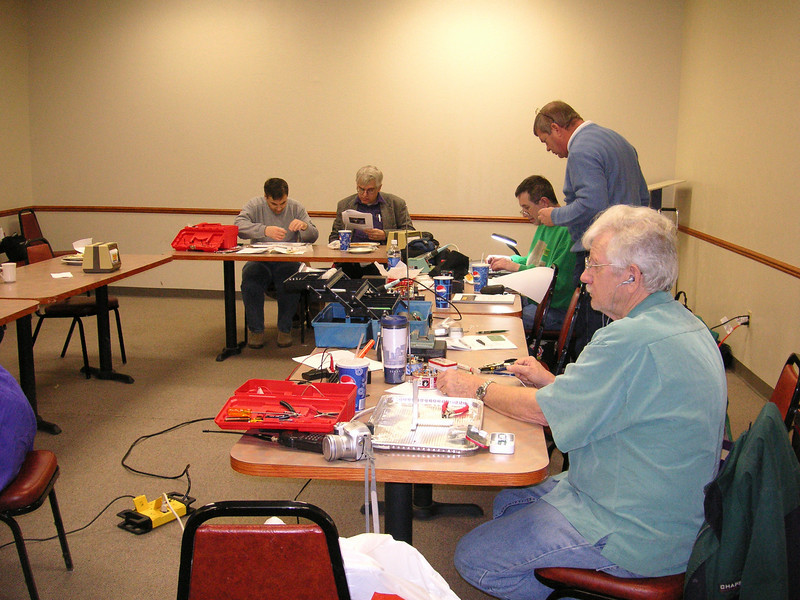 A shot of some of the group hard at work on projects.