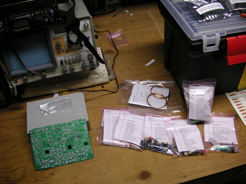 MKARS 80 kit of parts.  7 bags of parts and the enclosure. And my Dirty workbench!