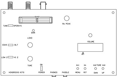 Control layout on the box for the new 3 band CW kit.
