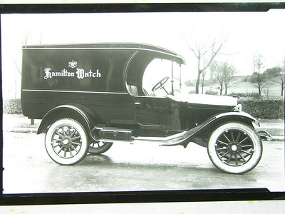 """Early model """" T """", white wall tires, top of the line """" running boards """". Great vehicle to deliver Hamilton Watch Co. parts. They only had the best!!!!"""