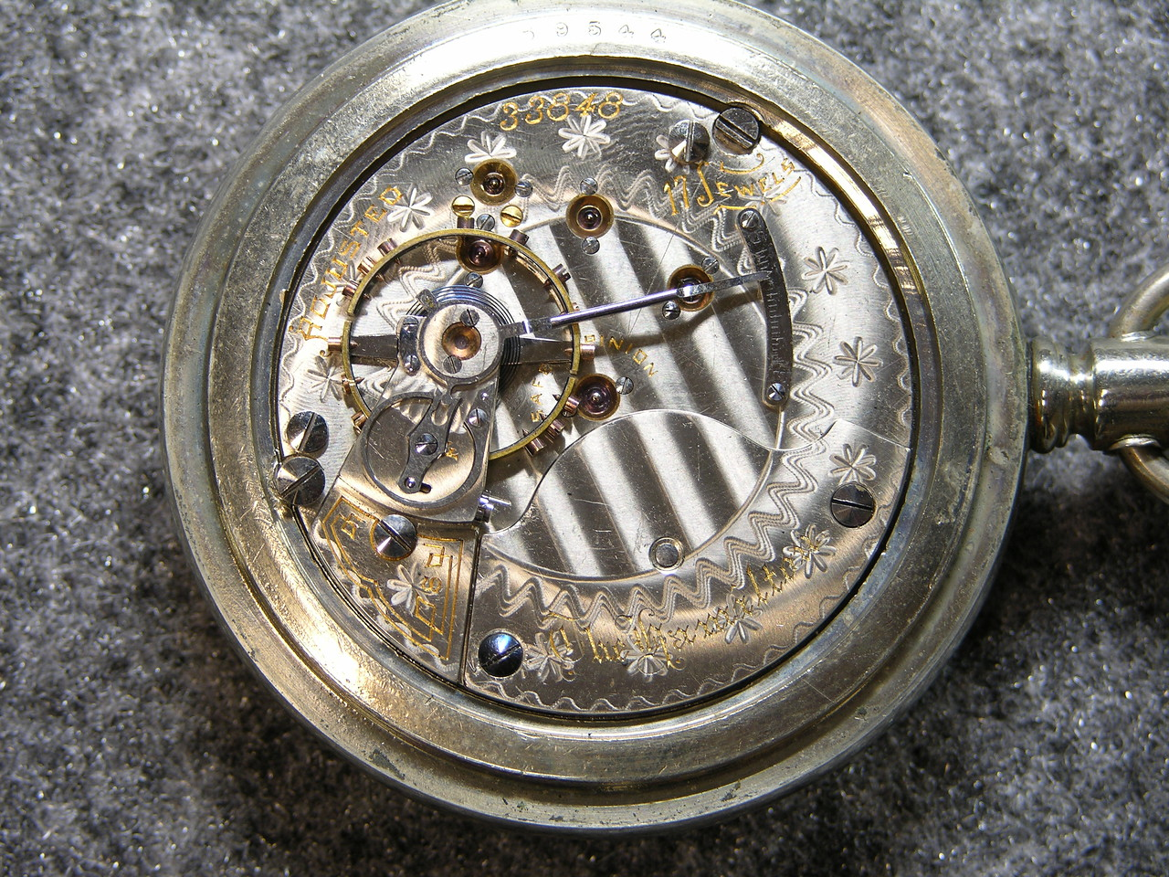 935 movement, SN 33848                          17 jewels, manufactured 1900-1909          total production 1,700