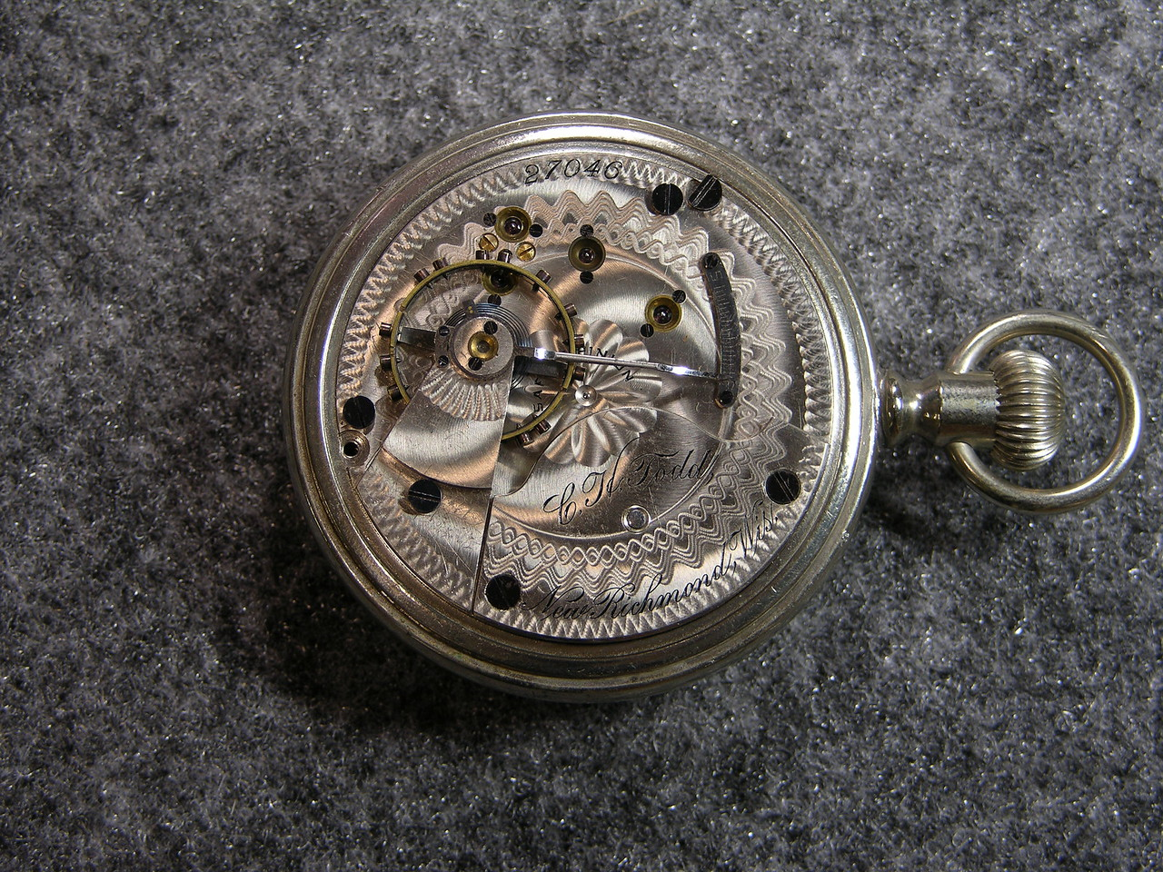 929 movement, SN 27046                          15 jewels, manufactured 1895-1900          total production 5,900