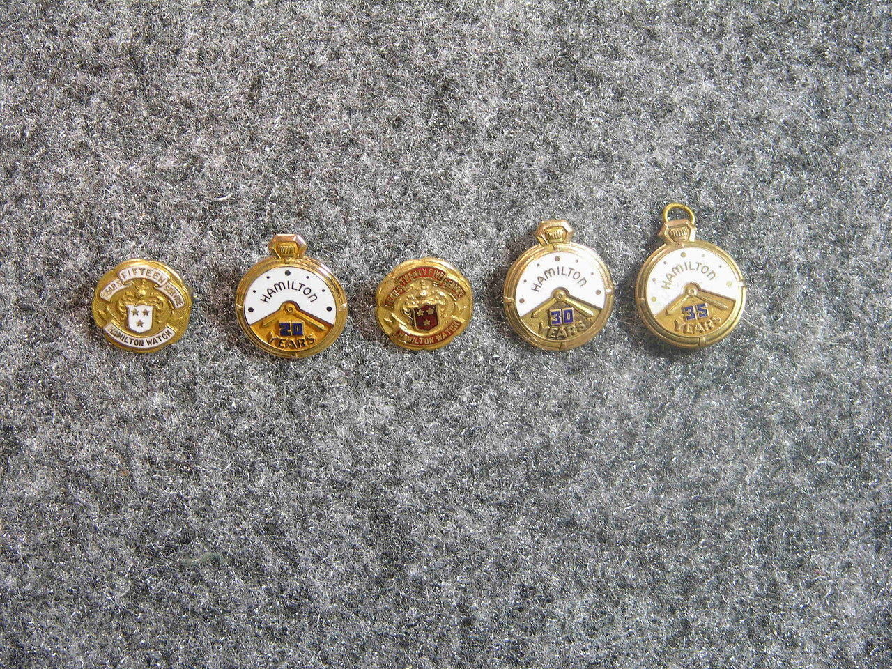 Hamilton Watch Company Service Pins. Number of Years Listed On Each Pin. Early Design. Pre 1950