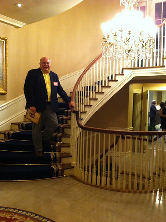 John Blakney on the stairs. 50 years later.