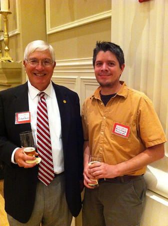 Richard Davies with Brian Cormack. Both enjoying a beer at the Governor's Mansion. Mr. Davies' and family has long been associated with Arkansas State Parks and Tourism, Petit Jean Mountain and the design and construction of Davies Bridge that Brian photographed and donated to the Firehouse Hostel and Museum benefit on September 8, 2011.