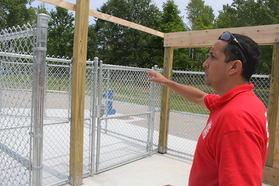 Mt. Pleasant Recreation Director Ryan Longoria surveys the land that has been developed into Mt. Pleasant's dog park named Hannah's Bark Park, July 3 at Mission Creek Park.