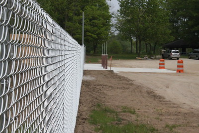 Fencing has been erected and is still under construction at the site of Mt. Pleasant's future dog park.
