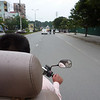 Our first tuk-tuk ride. Motorbike trike with bench seat behind for passengers.