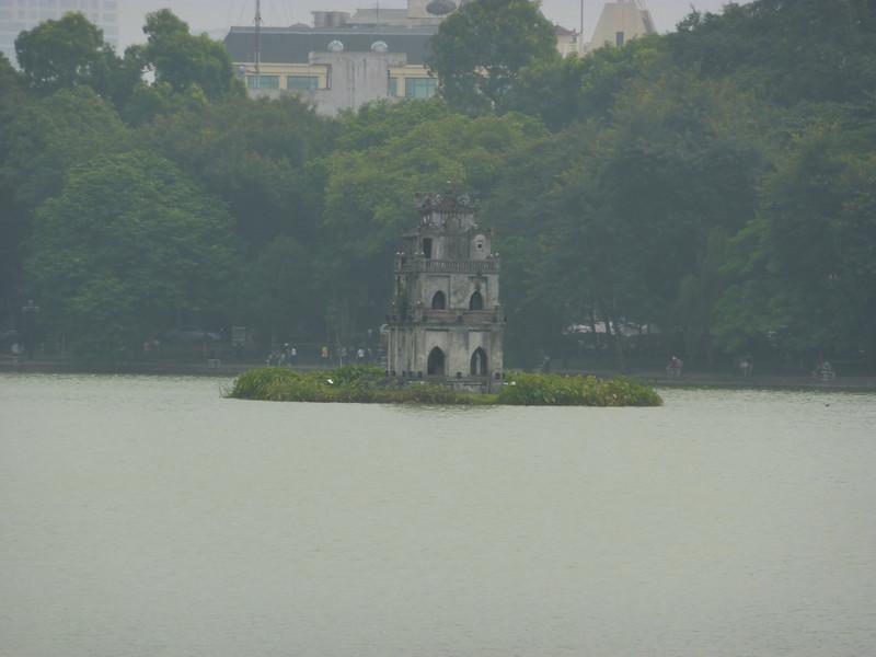 temple in middle of Hoan Kiem Lake