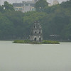 temple in middle of Hoan Kiem Lake