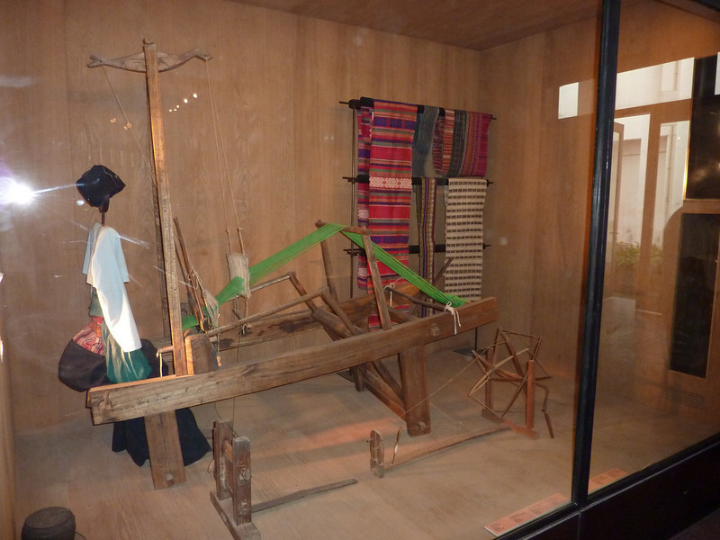 traditional hilltribe weaving display