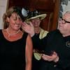 Hairdresser Guy Kremer demonstrates on the hair of Karen Spreadbury.