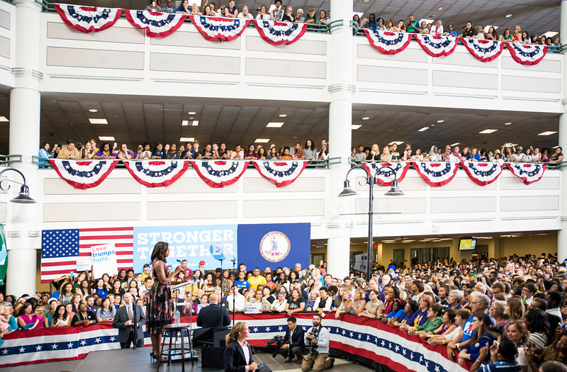 First lady Michelle Obama visits George Mason University, Fairfax Campus, Virginia for a Democratic presidential campaign rally, September 16, 2016.  Photo by Ron Aira/Creative Services/George Mason University