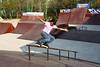 Local inline skater Rayson Liu sliding up the railing