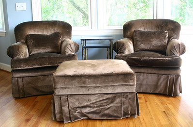 #10  $$$SOLD$$$ Pair of Down Filled Club Chairs w/ottoman: $250 Ottoman needs steaming to remove wrinkle seen in photo.   Nice, not mint. SOLD