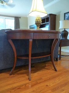 "#8  Reduced:  $125, now $95  $$$SOLD$$$ Demilune Sofa/Console Table w/leather top:  $150 52""L x 20"" D x 34"" H"