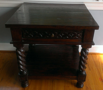 "#12  $$$SOLD$$$ Celedon style side table:  $125 28""L x 26"" D x 28"" H Minor heat spot on top."