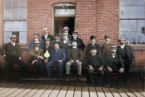 The financiers of the Lamp Works. Adolf is in the front center.