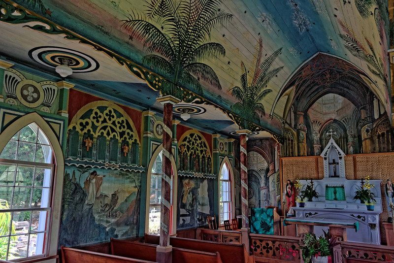 St. Benedict's Painted Church.  Back wall is flat but pointed to create illusion of gothic chapel