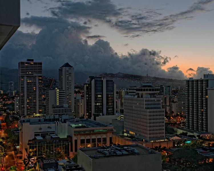 Downtown Waikiki just before sunrise