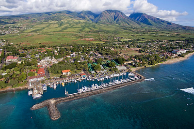 Drone Aerial Prints & More - Lahaina Harbor & Mountains - Island of Maui, Hawaii