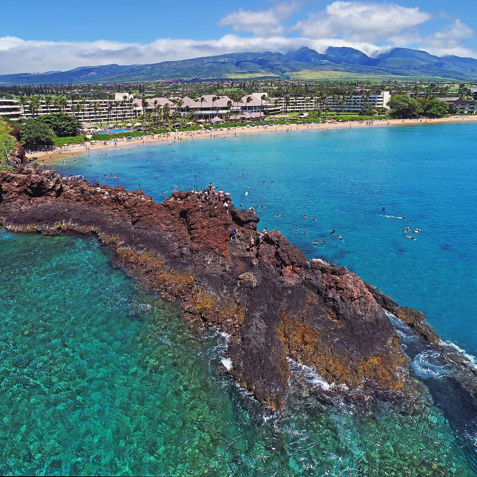 "Drone Aerial Prints & More - ""Black Rock Jump"" - Ka'anapali Beach - Maui, Hawaii"