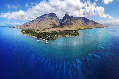 "Drone Aerial Prints & More - ""Deep Blue at Olowalu"" - Island of Maui, Hawaii"