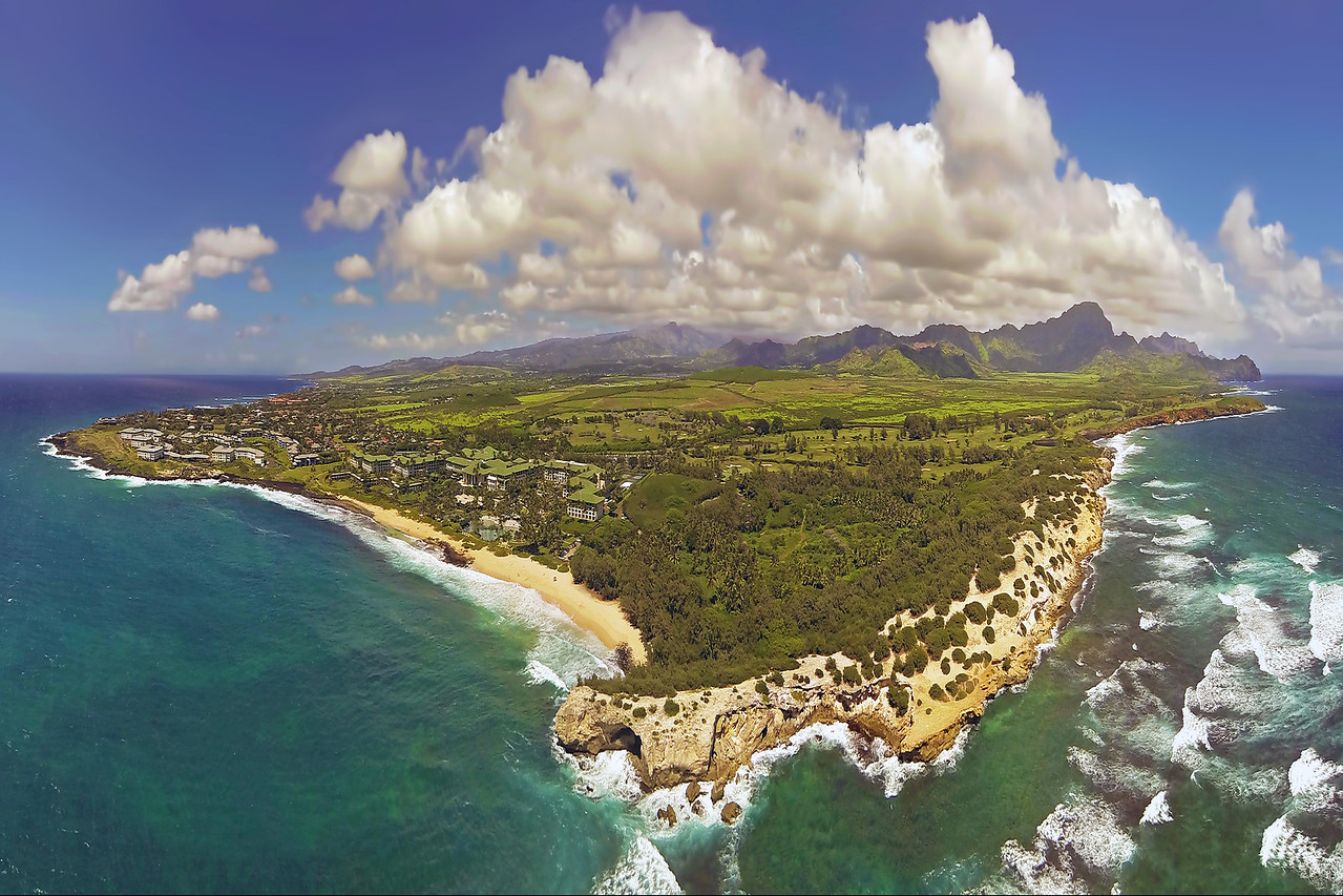 Drone Aerial Panorama - Island of Kaua'i - South Shore