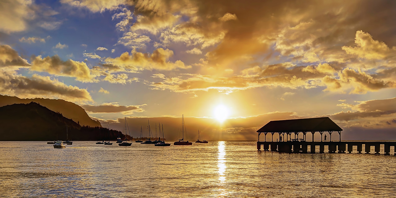 """Hanalei Pier Sunset"" - Island of Kaua'i, Hawaii - Joe West Photography"