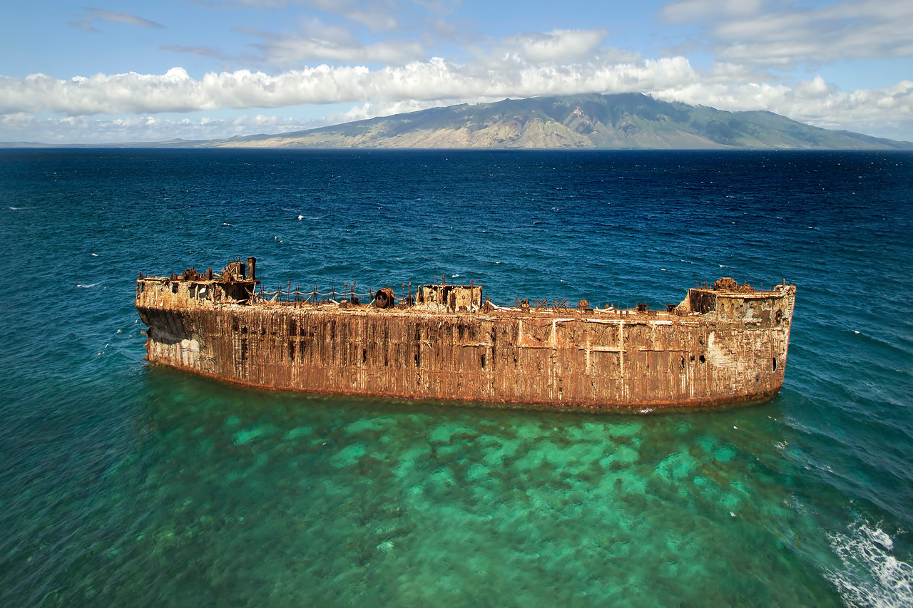 Drone Aerial Print - Shipwreck at Kaiolohia (Shipwreck Beach) - Island of Lana'i, Hawaii