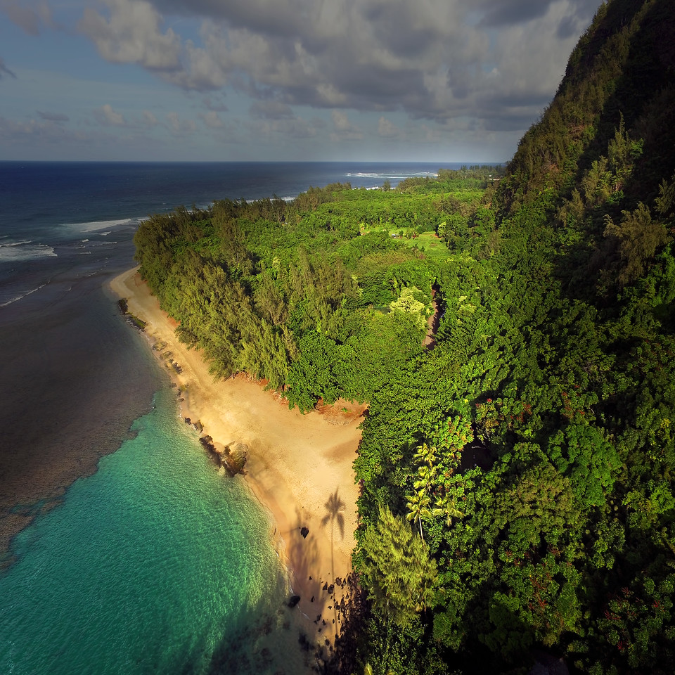 Drone Aerial Prints - Ke'e Beach - Island of Kaua'i, Hawaii