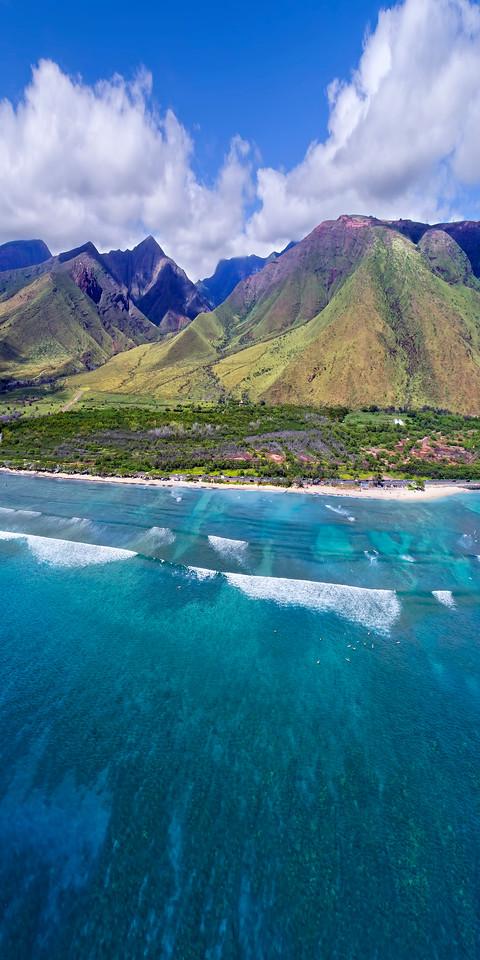 Drone Aerial Prints and More - Ukumehama Vertical - Island of Maui, Hawaii