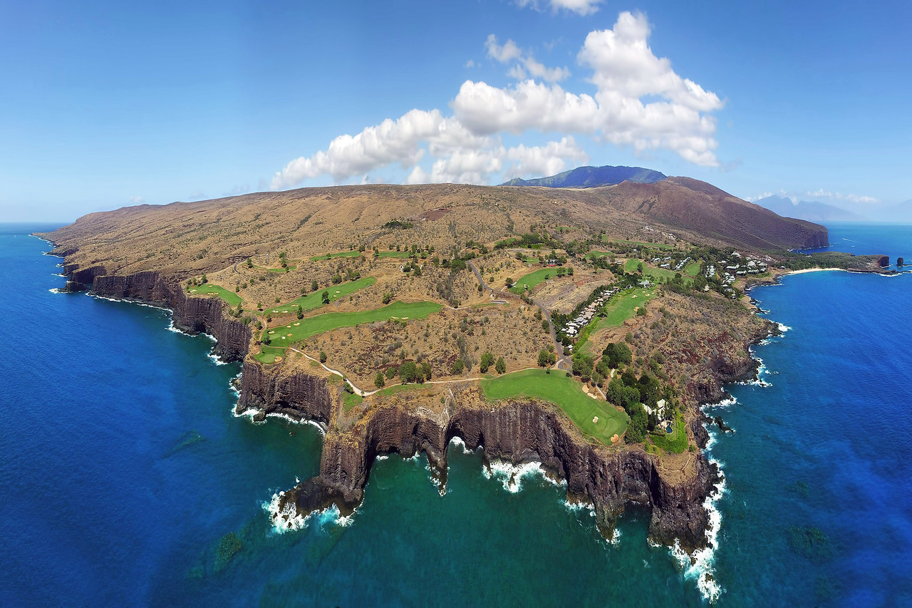 "Drone Aerial Prints & More - ""Manele Golf Course Panoramic"" - Island of Lana'i, Hawaii"
