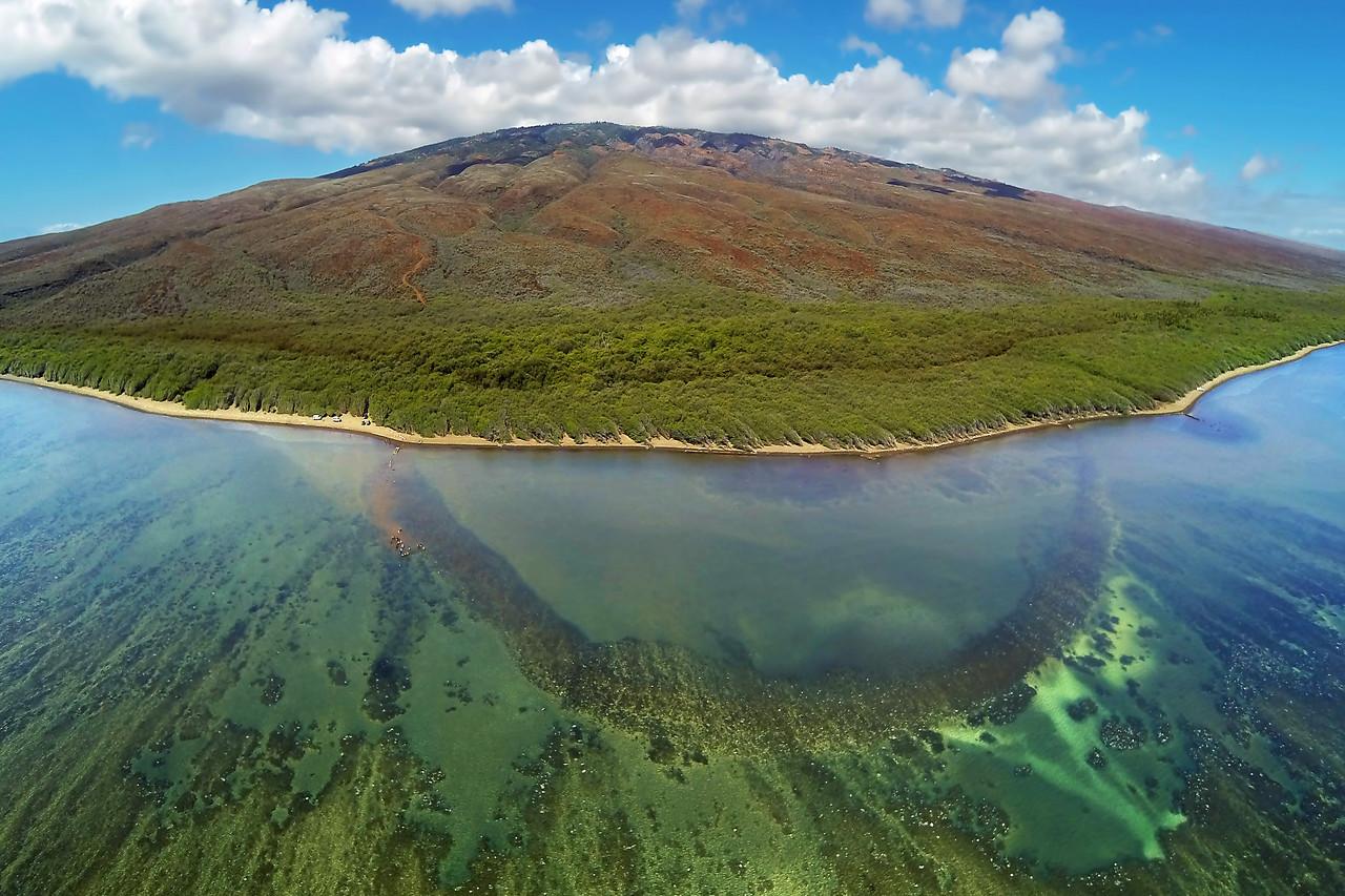 Drone Aerial Print - Waiopae Fishpond - Island of Lana'i, Hawaii