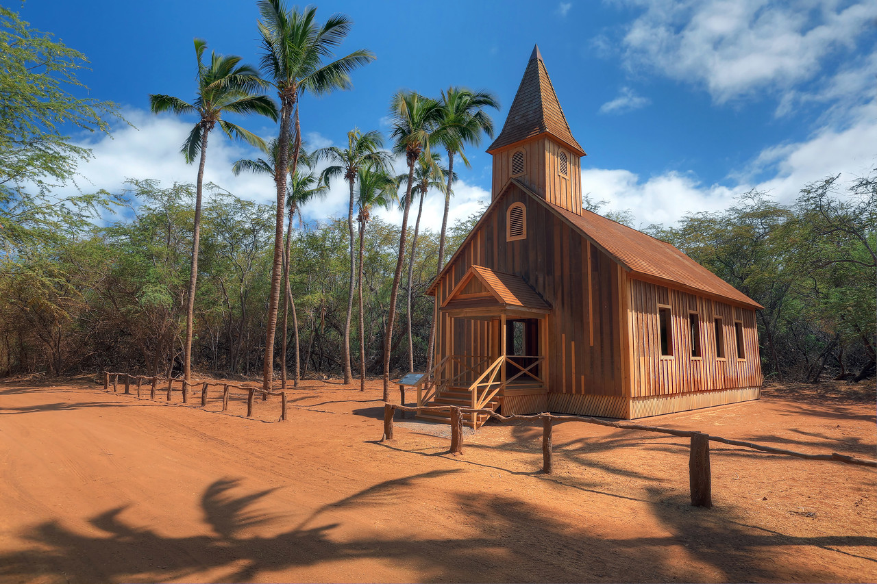 "Drone Aerial Prints & More - ""Church Building at Keomoku II"" - Island of Lana'i, Hawaii"
