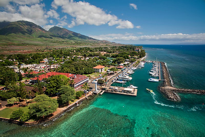 Drone Aerial Prints & More - Lahaina Harbor & Mountains