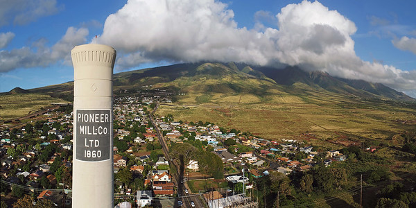 "Drone Aerial Prints & More - ""Pioneer Mill Smokestack"" - Lahaina, Island of Maui, Hawaii"