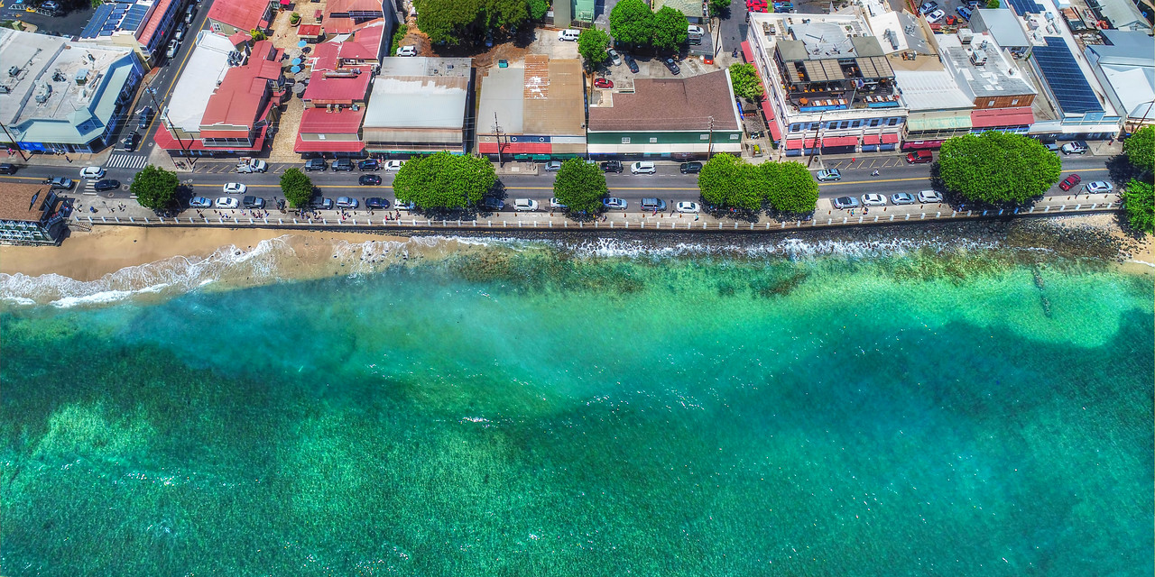 "Hawaii Drone Photography - ""Day on Front Street"" - Lahaina - Island of Maui, Hawaii"