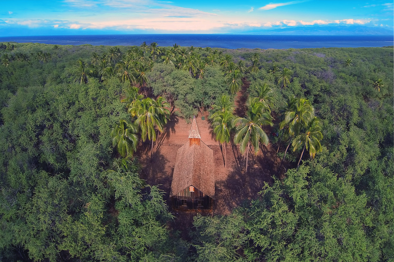 Drone Aerial Print - Church Building at Keomoku - Island of Lana'i, Hawaii