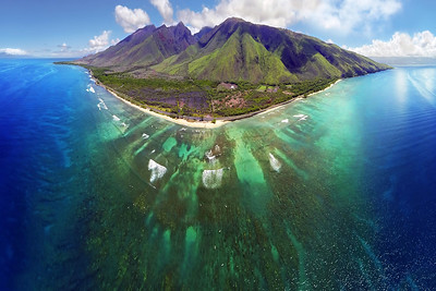"Drone Aerial Prints & More - ""Ukumehame Dream"" - Island of Maui, Hawaii"